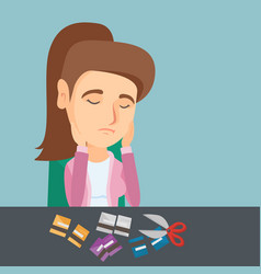 Young caucasian woman cutting credit cards vector