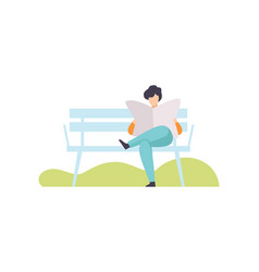 young man sitting on bench and reading newspaper vector image