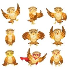 Cute Brown Owl Emoji Icon Set vector image vector image