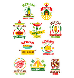 Icons set for mexican fast food restaurant vector