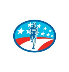 Marathon Runner USA Flag Oval Woodcut vector image vector image