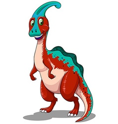 Red parasaurolophus standing on two legs vector image vector image