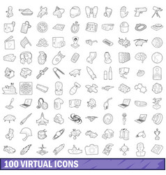 100 virtual icons set outline style vector image