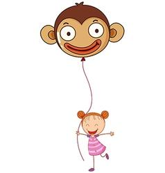 A young girl holding a monkey balloon vector image vector image