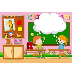 Boy and girl in the classroom vector image