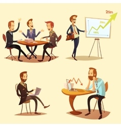 Businessmen Cartoon Icons Set vector image