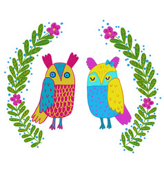 cute owl in flowers framecute hand drawn animal vector image