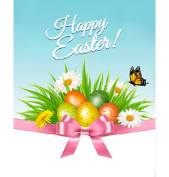 happy easter background colorful eggs and daisy vector image vector image