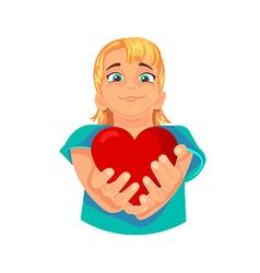 heart in the hands vector image vector image