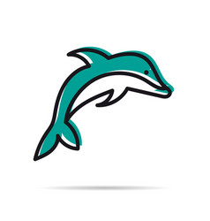 line icon - jumping dolphin vector image