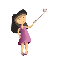 little cutie girl taking selfie vector image