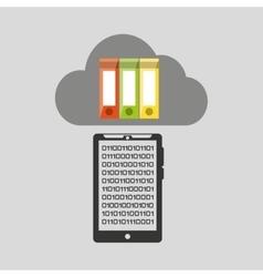 Smartphone transfer cloud data folder document vector