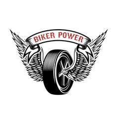 Biker power emblem with winged wheel design vector