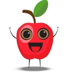 cartoon apple character vector image vector image