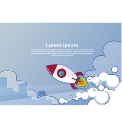 flying rocket business startup concept banner with vector image