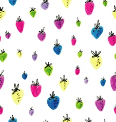 hand drawn strawberry pattern vector image vector image