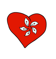 hong kong isolated heart flag on white background vector image