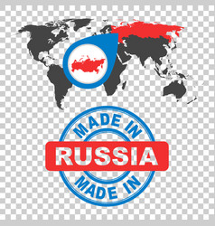 Made in russia stamp world map with red country vector