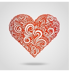 Red paper heart on gray vector image