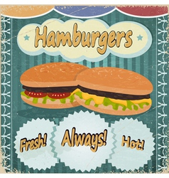 Vintage background with the image of hamburgers vector image
