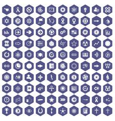 100 graphic elements icons hexagon purple vector