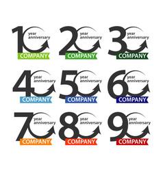 Anniversary company logo set template design vector