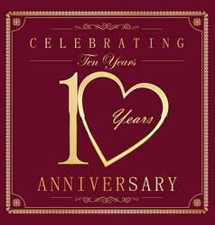 anniversary retro vintage background 10 years vector image