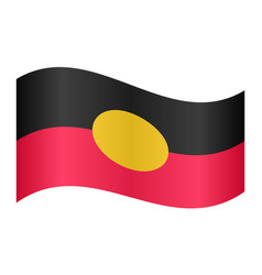 Australian aboriginal flag waving white background vector