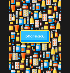 background with medicine bottles and pills vector image