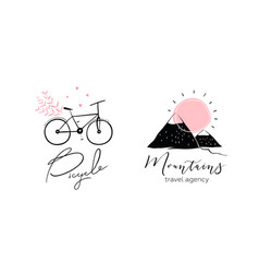 bicycle and mountains logo design vector image
