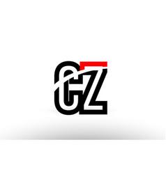 Black white alphabet letter cz c z logo icon vector