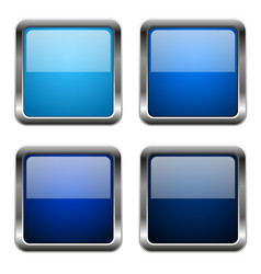 Blue glass square buttons with chrome frame vector