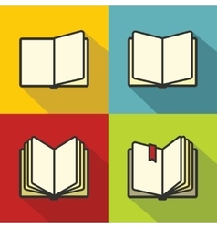 Book icons in flat line style vector