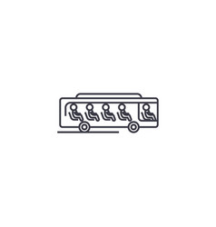 Bus with passengers line icon sign vector