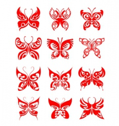 butterfly tattoo set vector image