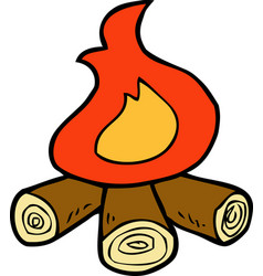 cartoon doodle bonfire vector image