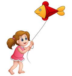 Cartoon girl playing kite shaped of fish vector