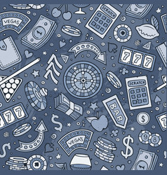 Cartoon hand-drawn casino games seamless pattern vector