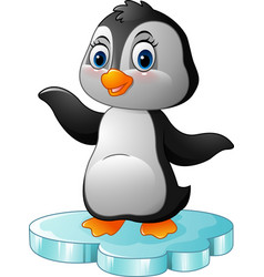 Cartoon penguin standing on floe vector