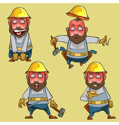 Cartoon surprised worker in the helmet vector
