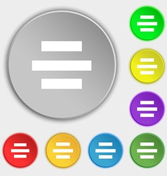 Center alignment icon sign Symbols on eight flat vector