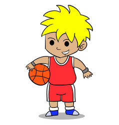 Character of boy playing basketball vector