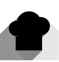 chef cap sign black icon with two flat vector image