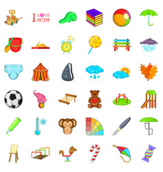 child family icons set cartoon style vector image