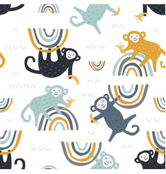 childish seamless pattern with cute monkey vector image