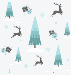 christmas reindeer winter seamless wallpaper vector image