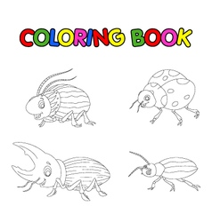 coloring book of beetle cartoon vector image