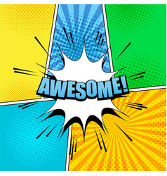 Comic awesome wording template vector