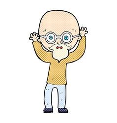 Comic cartoon stressed bald man vector