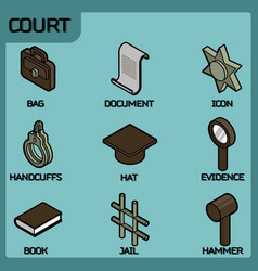 court color outline isometric icons vector image